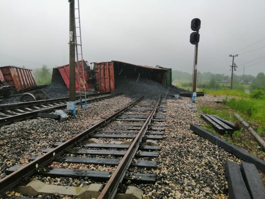 ВКоми задержано движение поездов из-за схода вагонов суглем