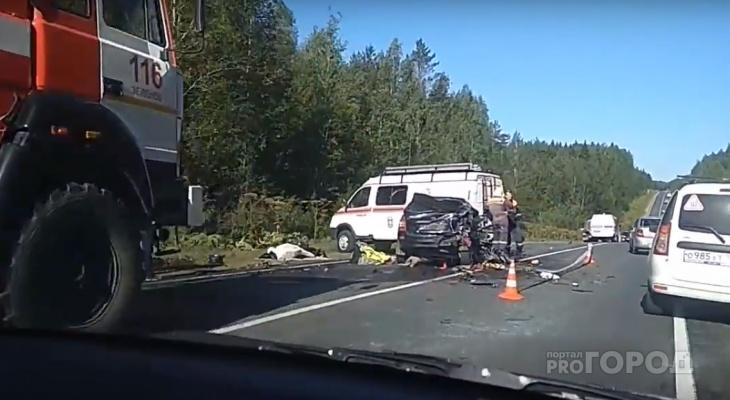 Появилось видео с места аварии под Сыктывкаром, где погибла женщина