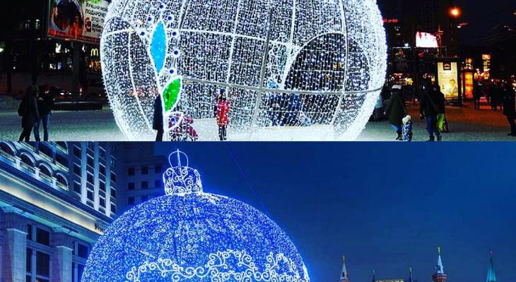 Фото дня: сравнение сыктывкарского и московского новогодних шаров