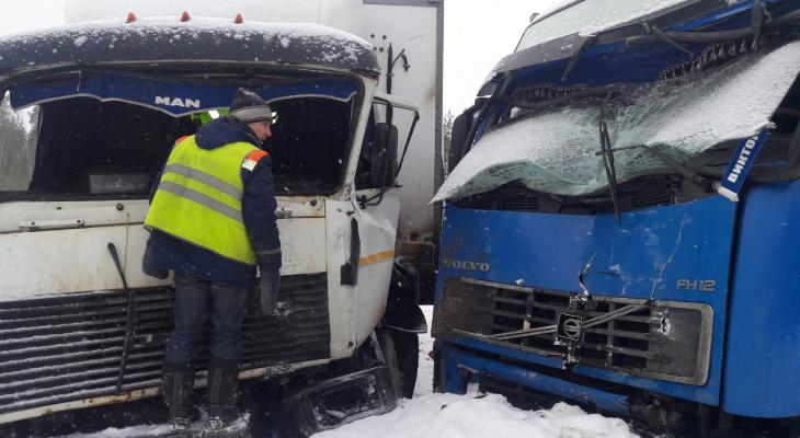 В Коми МАЗ лоб в лоб столкнулся с грузовиком «Вольво», три человека пострадали