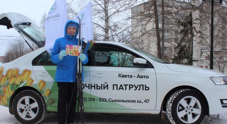 Цветочный патруль от  ŠKODA : сыктывкарок поздравили с 8 Марта необычным способом