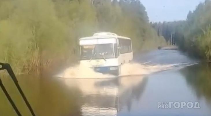 В Сыктывкаре водитель устроил «заплыв» по реке на пассажирском автобусе (видео)