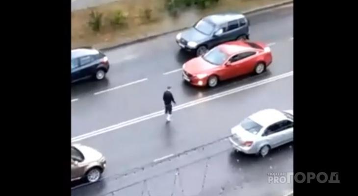Сыктывкарец разгуливал по проезжей части, бегал за прохожими и разглядывал лужи (видео)