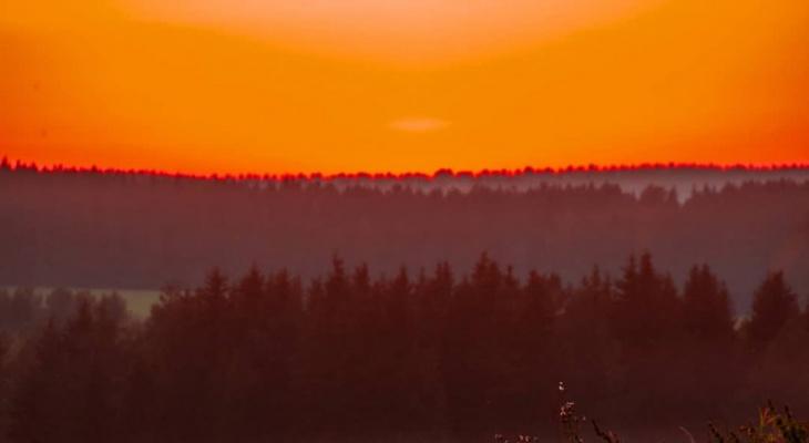 Фото дня в Сыктывкаре: пламенный закат наступающей осени