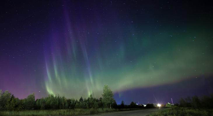 Фото дня: удивительные сполохи северного сияния в ночном небе Коми