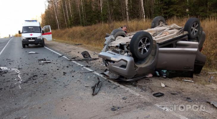 Под Сыктывкаром произошла жесткая авария с двумя иномарками (фото, видео)