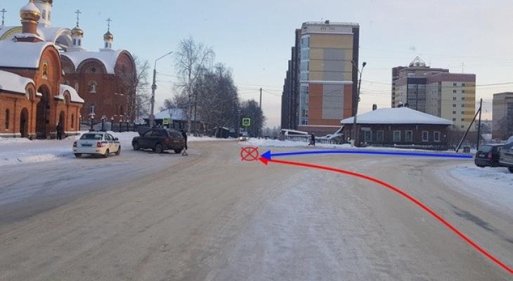 В Сыктывкаре иномарка столкнулась с ВАЗом прямо перед храмом