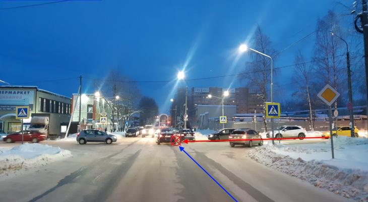В Сыктывкаре «четырнадцатая» не уступила дорогу автомобилю Volkswagen Tiguan