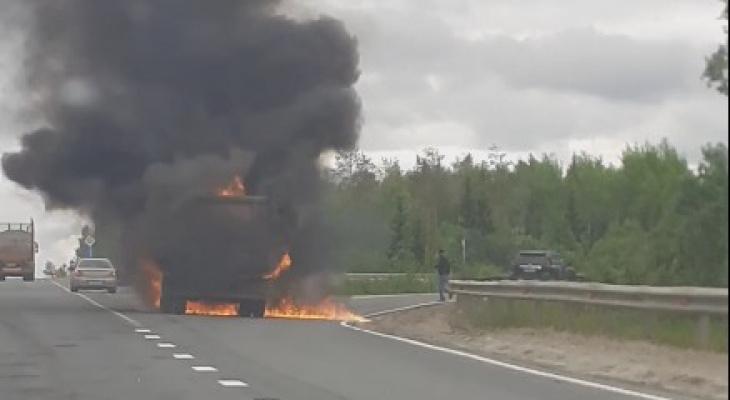На трассе Сыктывкар-Визинга полыхала фура (видео)