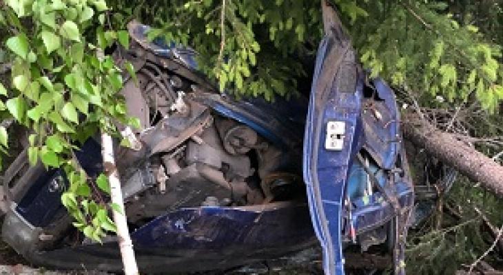 Пьяный житель Коми превратил свое авто в груду искореженного металла